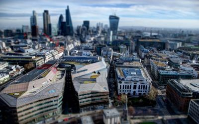 The docklands view from St. Paul's Cathedral – miniature style