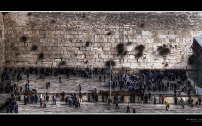Western Wall in painting style