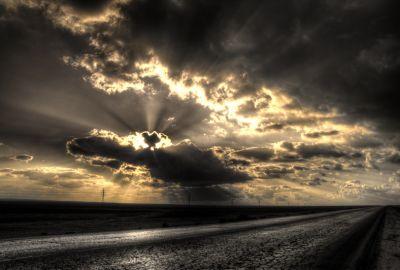 Desert Road Clouds 1